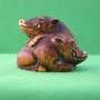 Carved Stained Ivory Boars Netsuke